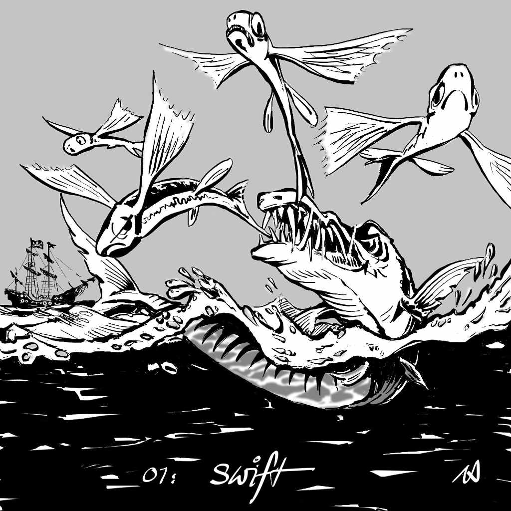 Illustration by Nick James for Inktober 2017 swift with flying fish a barracuda and pirate ship