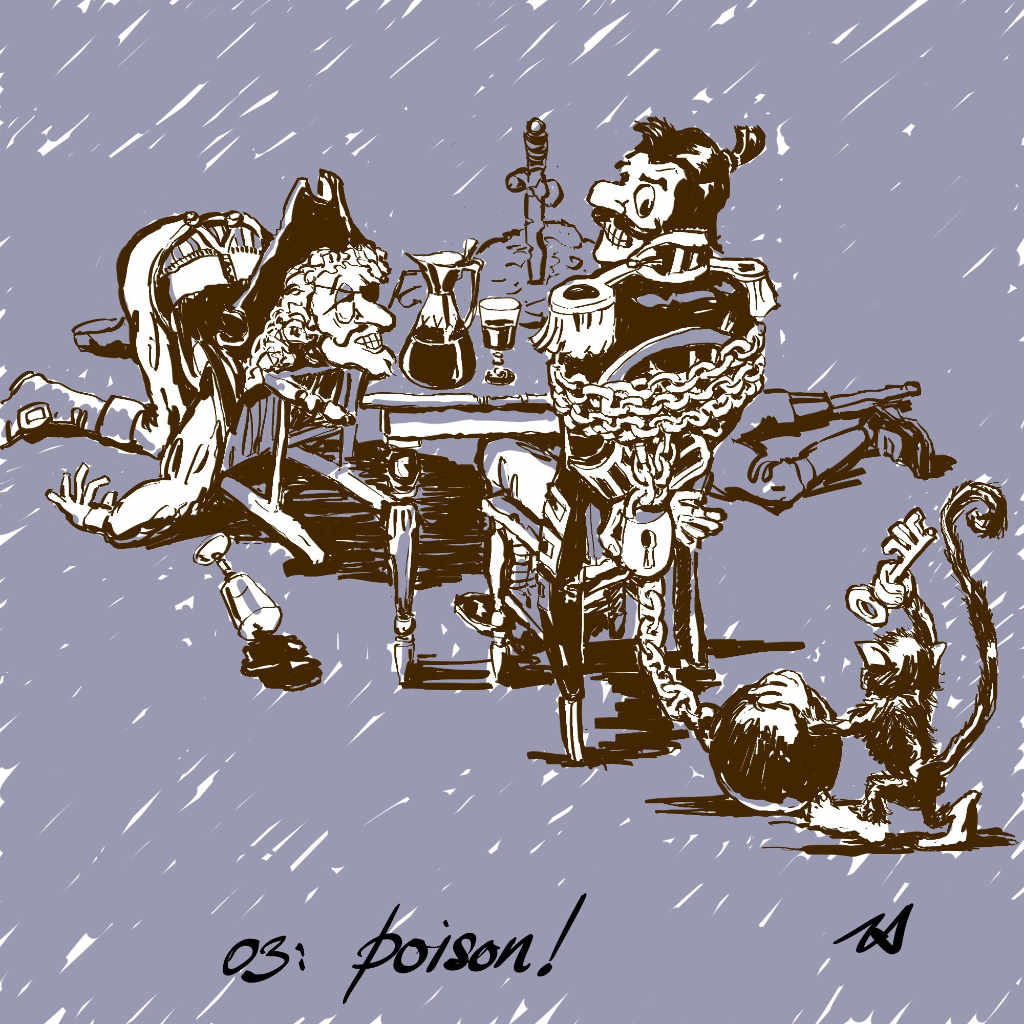 Illustration by Nick James Inktober2017 the pirates are poisoned and the monkey comes to the rescue