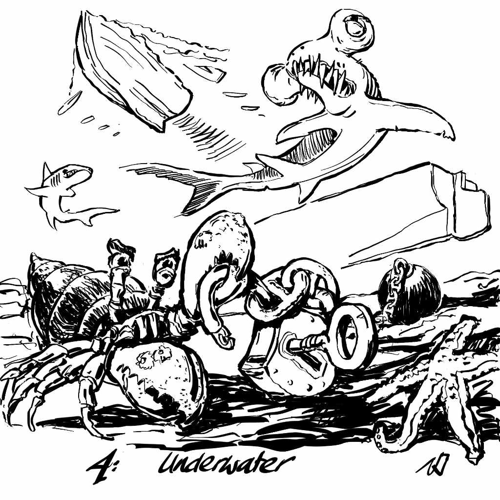 Illustration by Nick James Inktober 2017 underwater. A hermit crab insects an unlocked padlock wile a rowing boat escapes above.