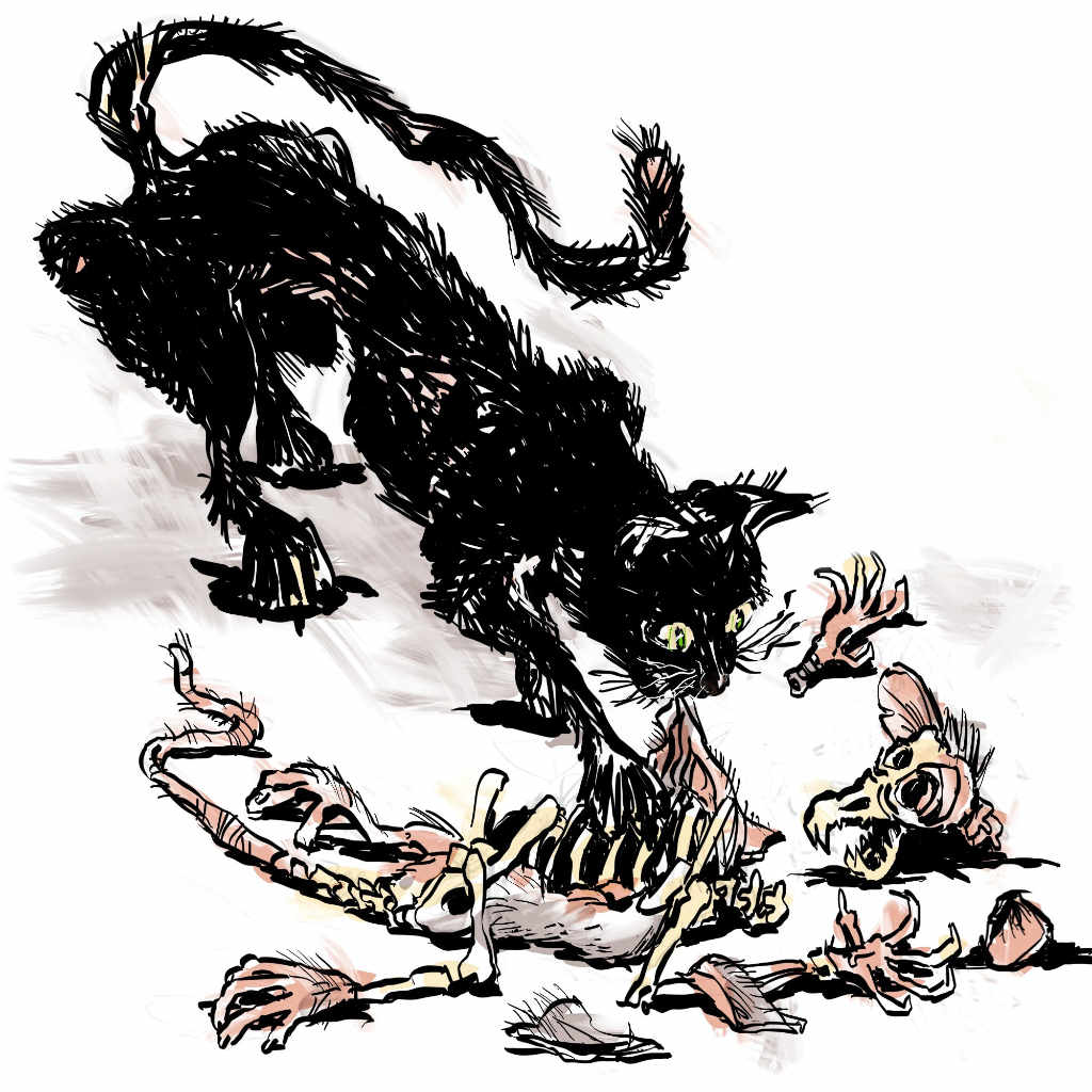 """Illustration by Nick James of his own poem """"Good Taste"""" In which the cat dismembers the rat"""