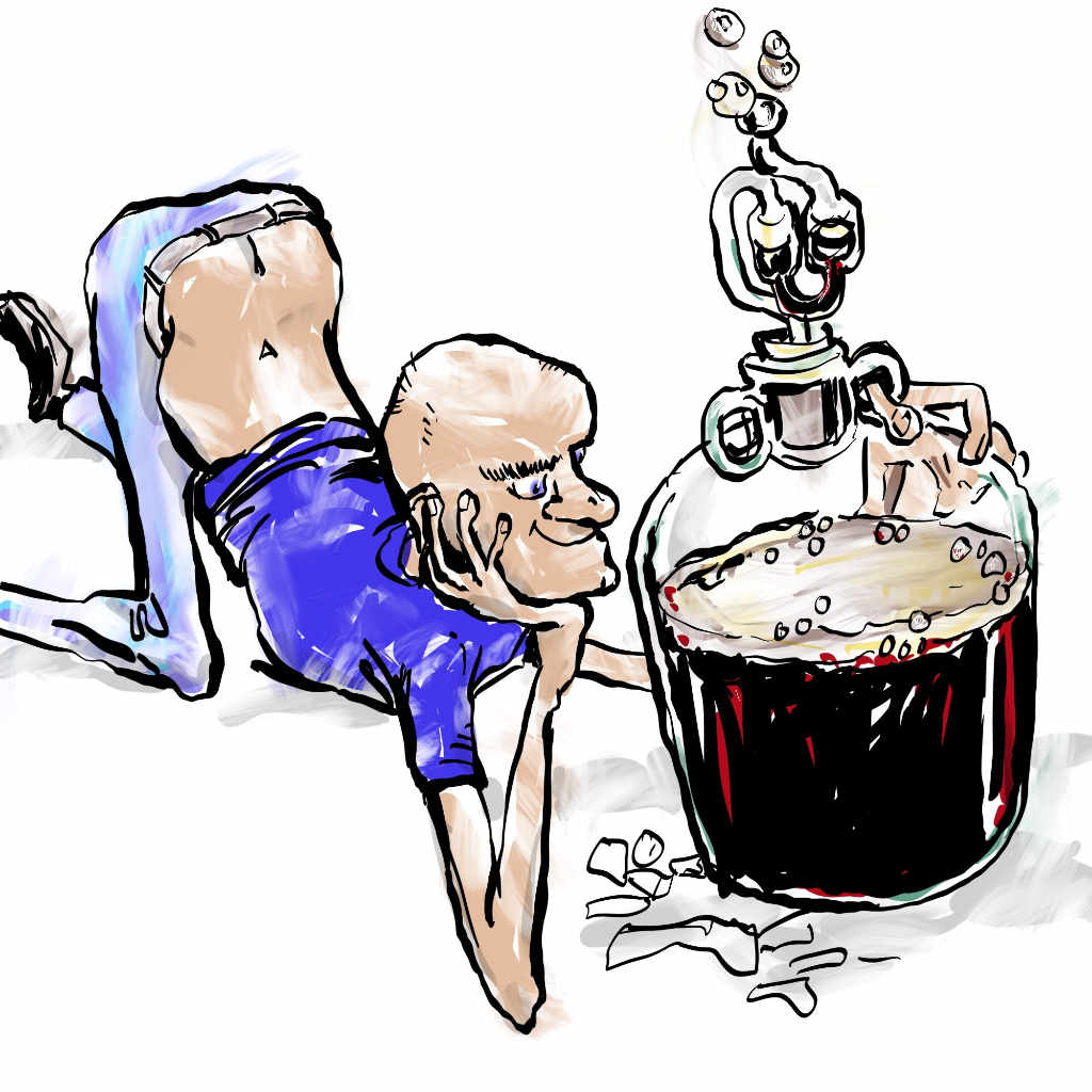 Illustration by Nick James in which a home brewer uses yeast in a suicide mission to poison fruit juice