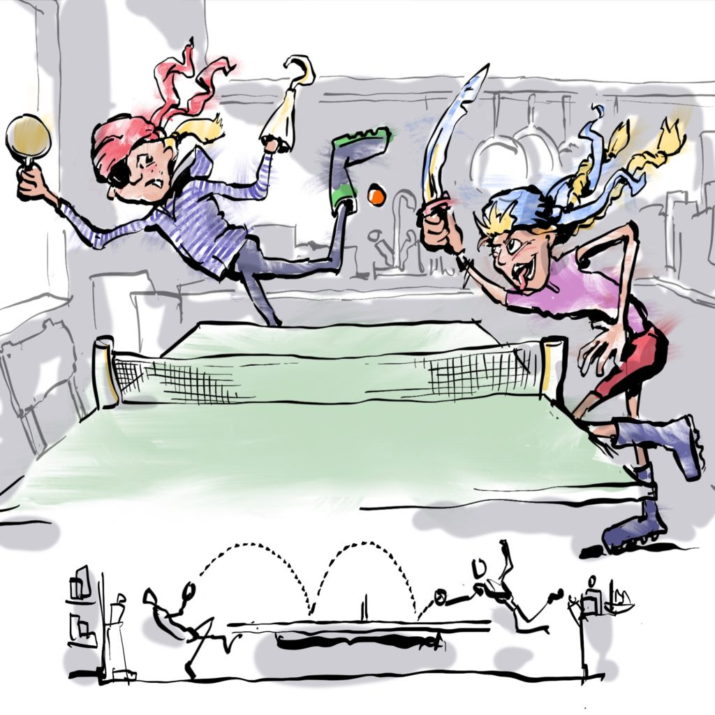 Illustration by Nick James Illustrator - The Travelling Twins as Pirates Playing Table Tennis in the Kitchen