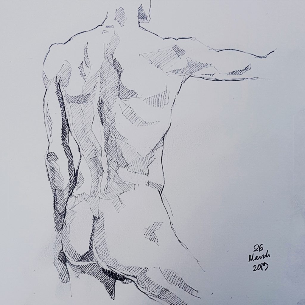 Life Drawing by Nick James Illustrator. 5B pencil on Watercolour Paper