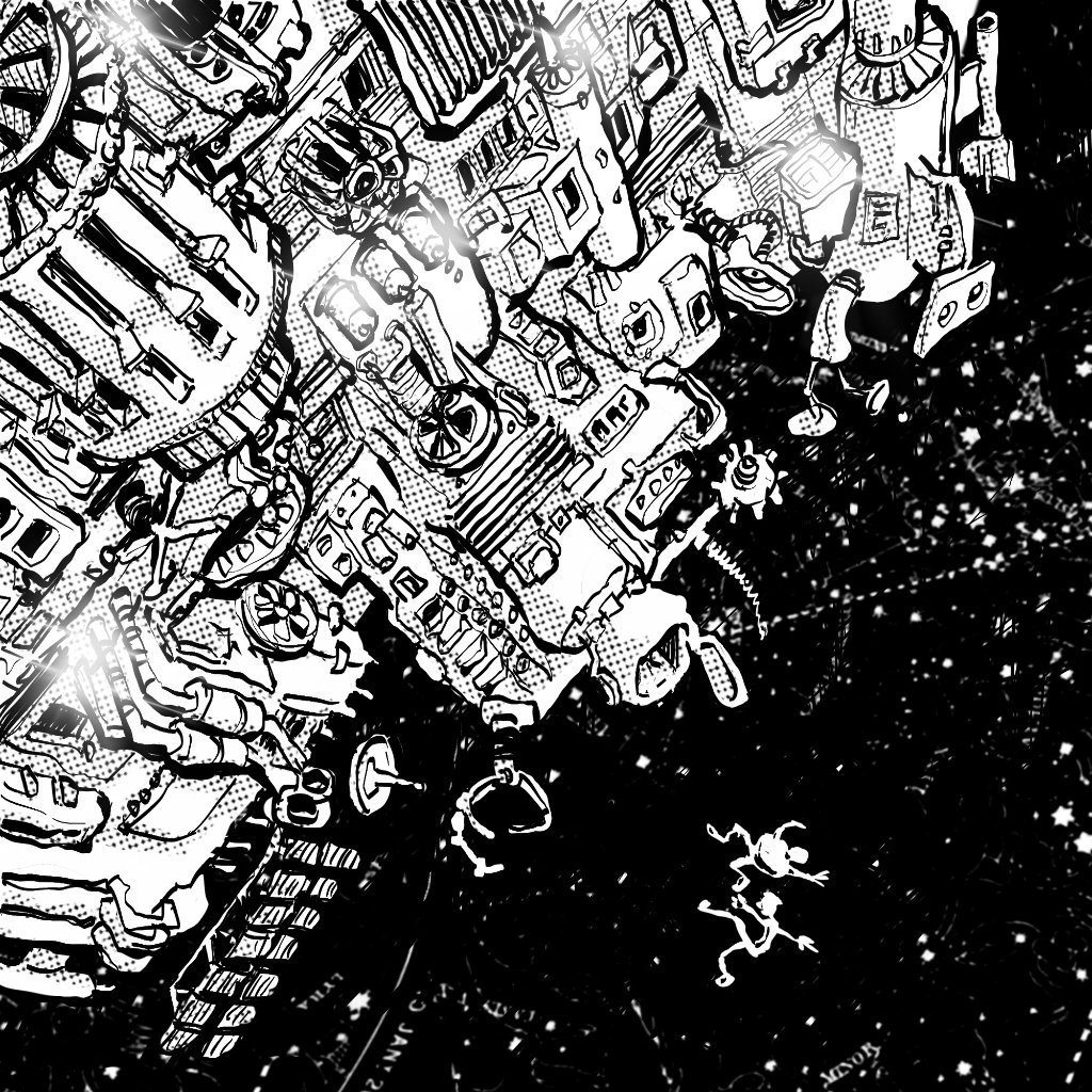 Illustration by Nick James Illustrator - The Hitchhiker's Guide to the Galaxy. Despite their protestations, Arthur and Ford are ejected into open space. They discover that space is really big.