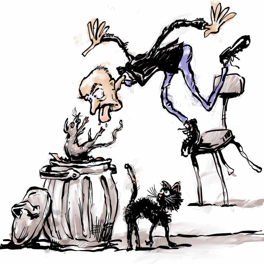 Illustration by Nick James of his own Poem Good Taste a man spits a rat int a dustbin