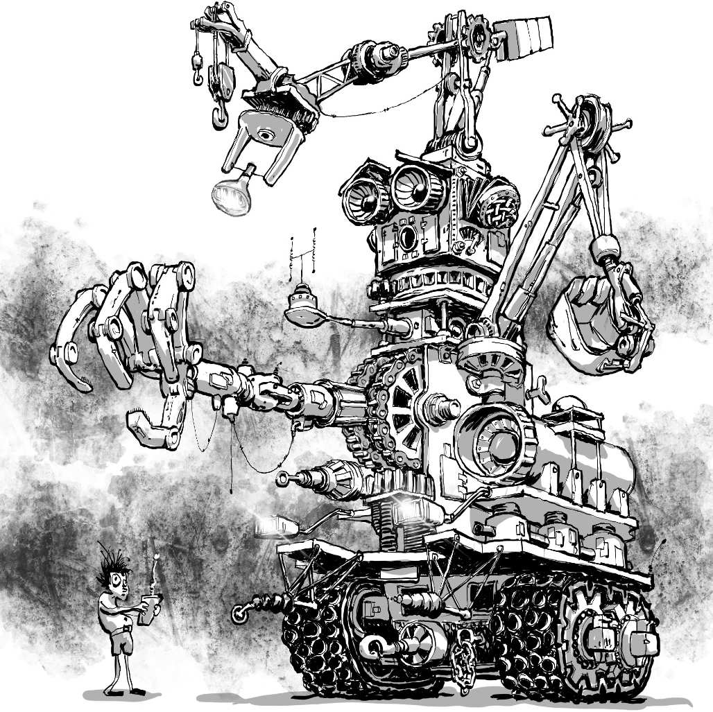 STeampunk Robot drawn by Nick Jmes Illustrator for Arik at Drawmearobot on instagram