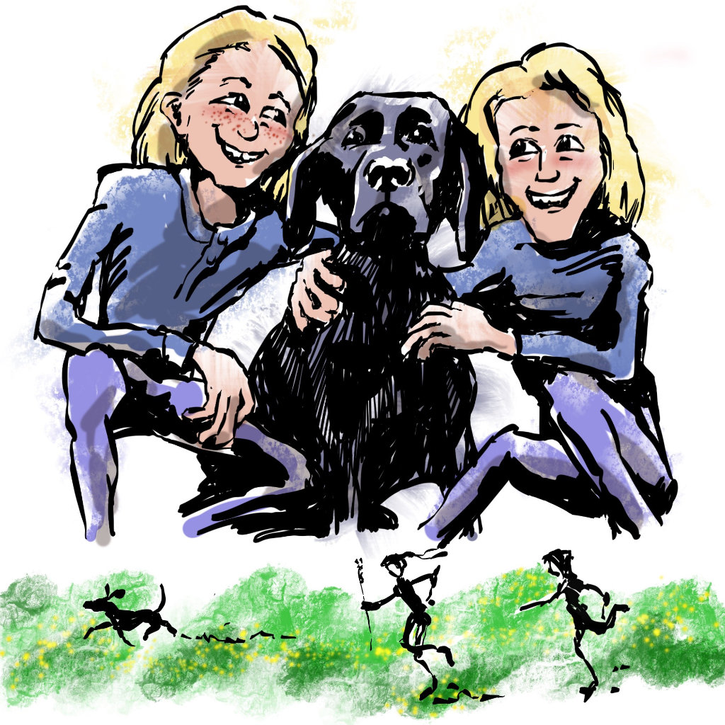 Illustration by Nick James Illustrator. The Travelling Twins petsitting with Tabu in the Shropshire hills AONB.