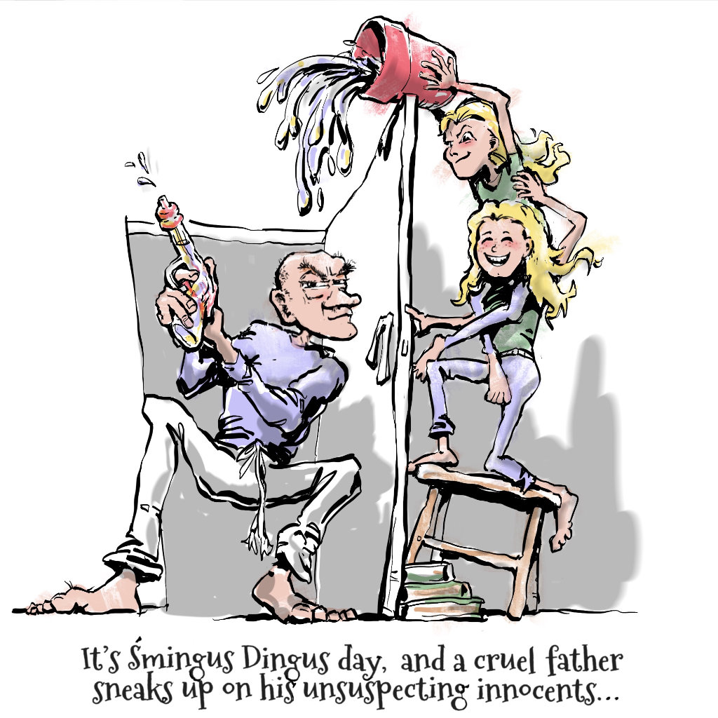 Illustration by Nick James Illustrator. The Travelling Twins on Smingus Dyngus day.