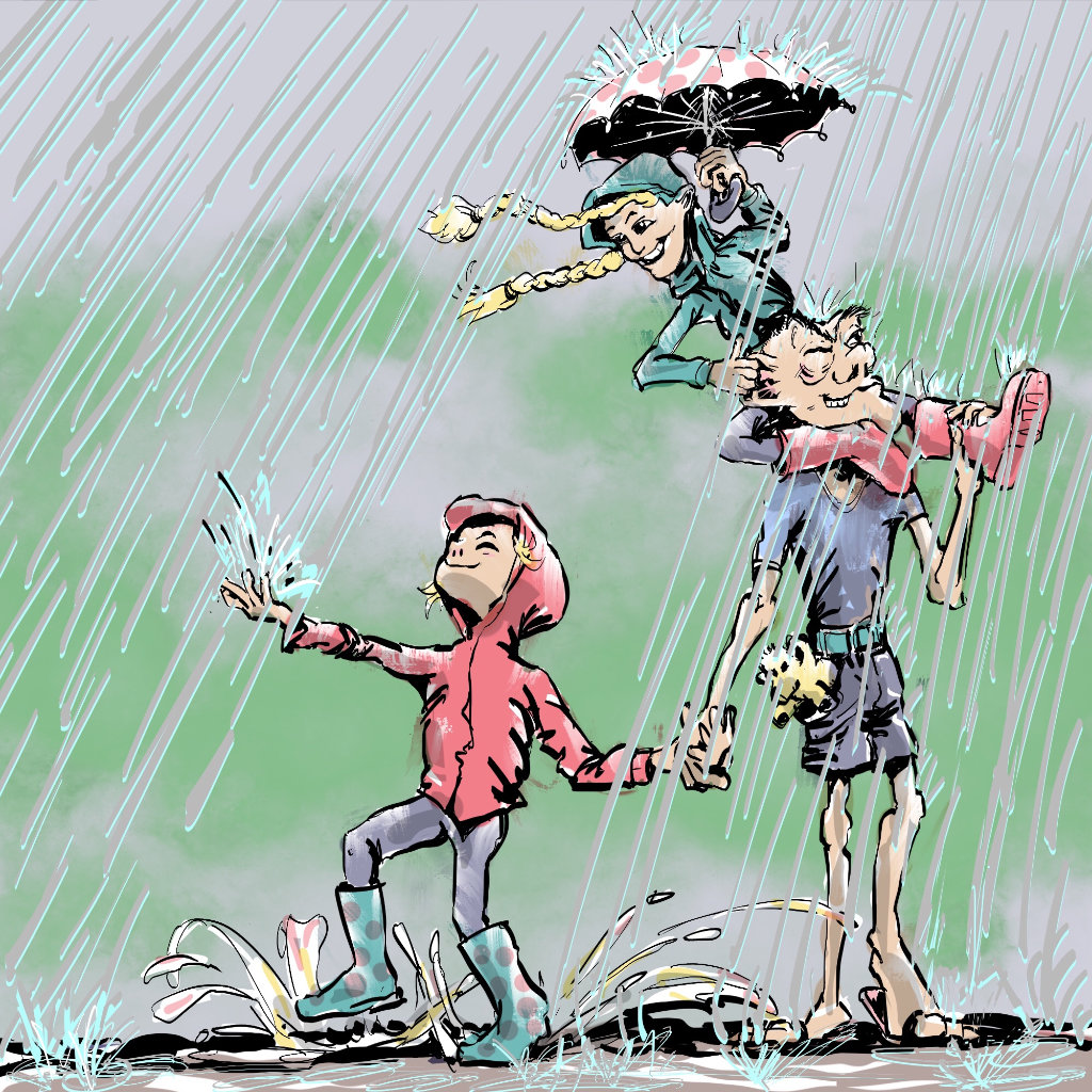 Illustration by Nick James Illustrator. The travelling Twins discover the use of Umbrellas